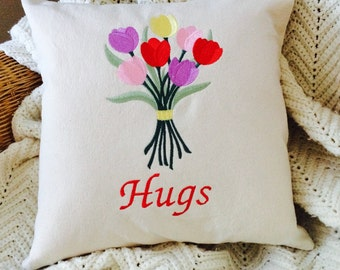 "Pillow, Embroidered Pillow, Decorative Pillow, Flowers Pillow, ""Hugs"", Mothers Day Gift, Valentines Day Gift, Get Well gift, Thinking of You"