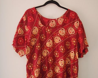 Tunic Dress Large Loose Beaded Paisley