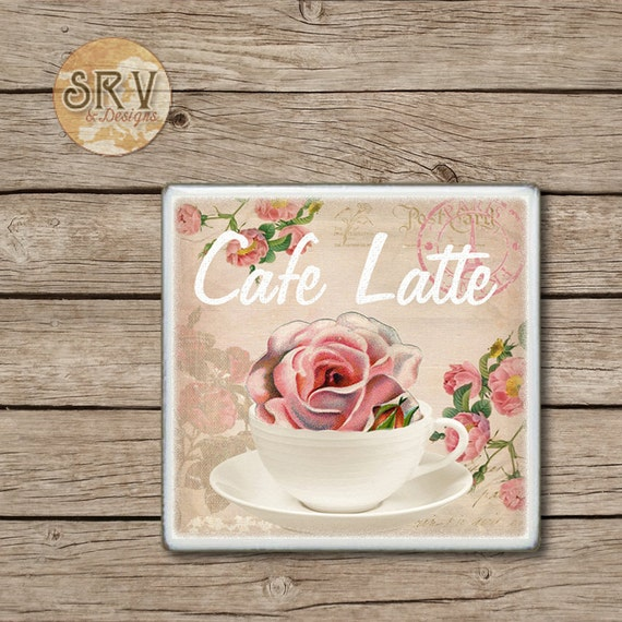 Shabby drink coaster cafe latte rose in coffee cup by for Cafe latte decor