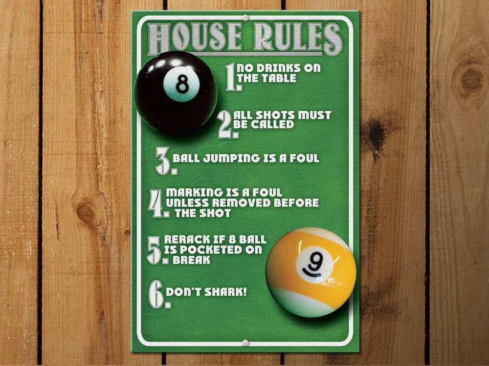 home design game rules billiards room decor pool room house metal sign 18158