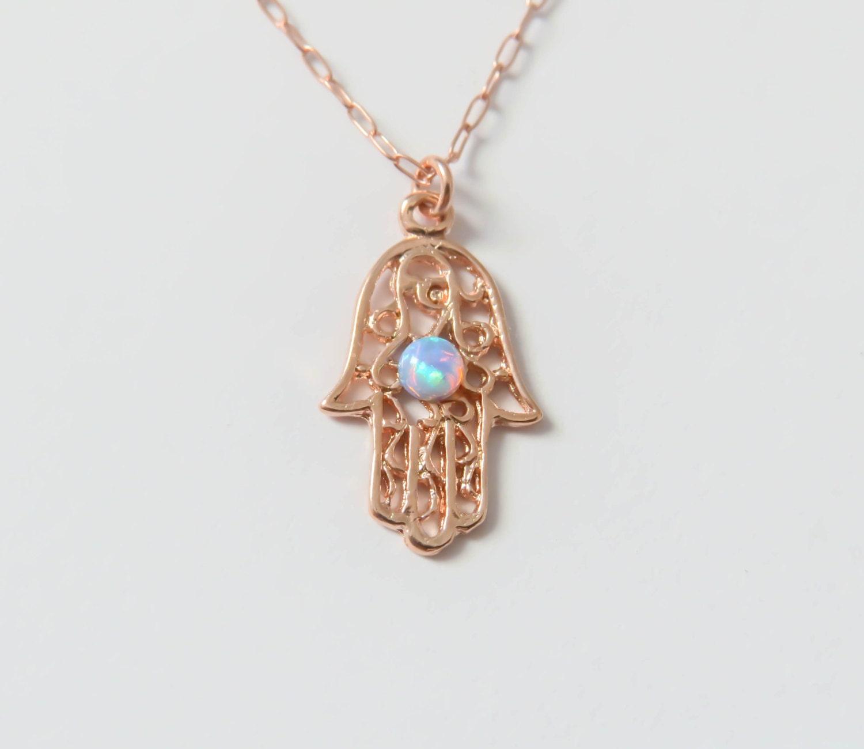 Opal hamsa necklace rose gold Hamsa necklace rose gold hand