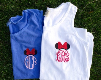 Minnie Mouse Monogram Disney Tank Top, Women's Comfort Colors Disney Tank (unisex size)