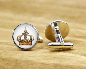 Golden Crown Cufflinks, royal crown cuff links, personalized cufflinks, custom wedding cufflinks, round, square cufflinks, tie clips, or set