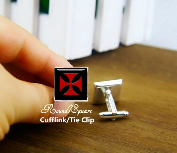 maltese cross cufflinks, red cross cufflinks, doctor cufflinks, maltese, custom wedding cufflinks, round, square cufflinks, tie clips, set