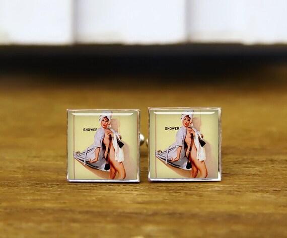 poster pinup girl cuff links, arte vintage cufflinks, custom pin-up, custom wedding cufflinks, round, square cufflinks, tie clips, or set