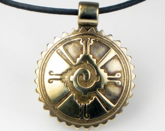 Mayan Hunab Ku Shaman Tribal Bronze Pendant - Necklace - Keyring - Mayan Hunab Ku Cosmic - Mayan 4 Elements Pendant - Mayan Aztec Celestial