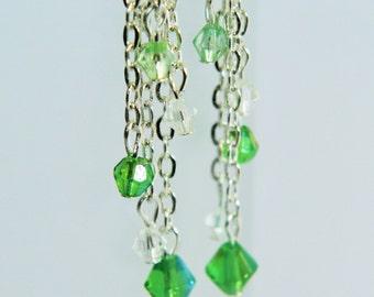 Waterfall Earrings, Green Earrings, Cascade Earrings
