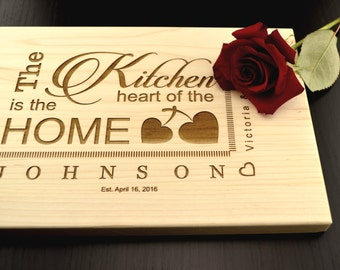 Personalized Cutting Board, Kitchen is the Heart of the Home, Custom Chopping Block, Engraved Hostess, Housewarming Gift, Gourmet Food Gift