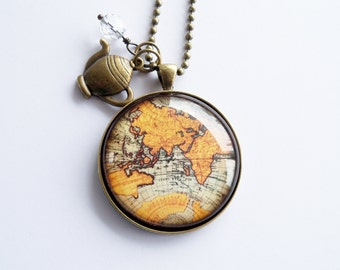 Large Globe Necklace - Antique World Map Pendant Necklace - Vintage Map Jewelry - Adoption Jewelry - Travel Necklace - Personalized