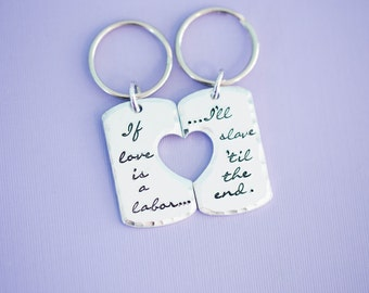 Rise Against - Couples - Swing Life Away Keychain Set -  Engraved Jewelry - Custom Engraving