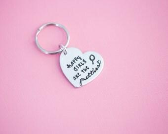 Hand Stamped Keychain - Happy Girls are the Prettiest - Audrey Hepburn - Hand Stamped Jewelry