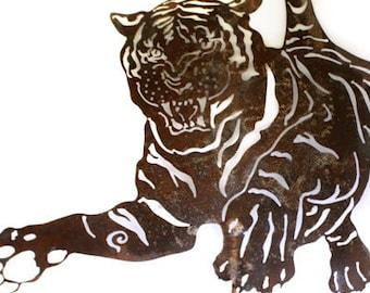 Tiger Garden Stake / Yard Art / Garden Art Wall Decor