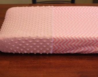 Minky Changing Pad Cover, Pink White Chevron, Contoured Changing Pad, Pink Minky Girl Baby Shower Gift Light Pink Chevron Changing Pad Cover