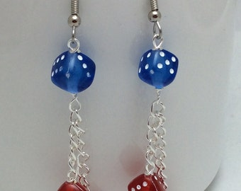 Dice Dangle Earrings. Dice Jewelry. Lucky 7. Patriotic Earrings. Red White and Blue. Angelic Beaders. Gift for Gamers. Gambling Earrings