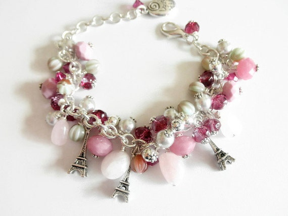 Victorian Charm Bracelet, Pearl  Bracelet , Victorian Jewelry, Victorian Style, Edwardian Jewelry