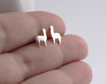 Llama Studs, Cute Handmade Sterling Silver Llama, Alpaca Animal Earrings, Llama Jewelry, Silver Studs,Animal Studs,Silver Llama