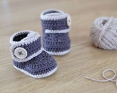 CROCHET PATTERN - Warm Toes - Crochet Baby Booties - Crochet Baby Shoes - Instant Download