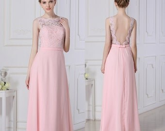 Pink Long Lace Bridesmaid Dress Chiffon Prom Dress A-line Floor Length Open Back Blush Formal/Prom Dress