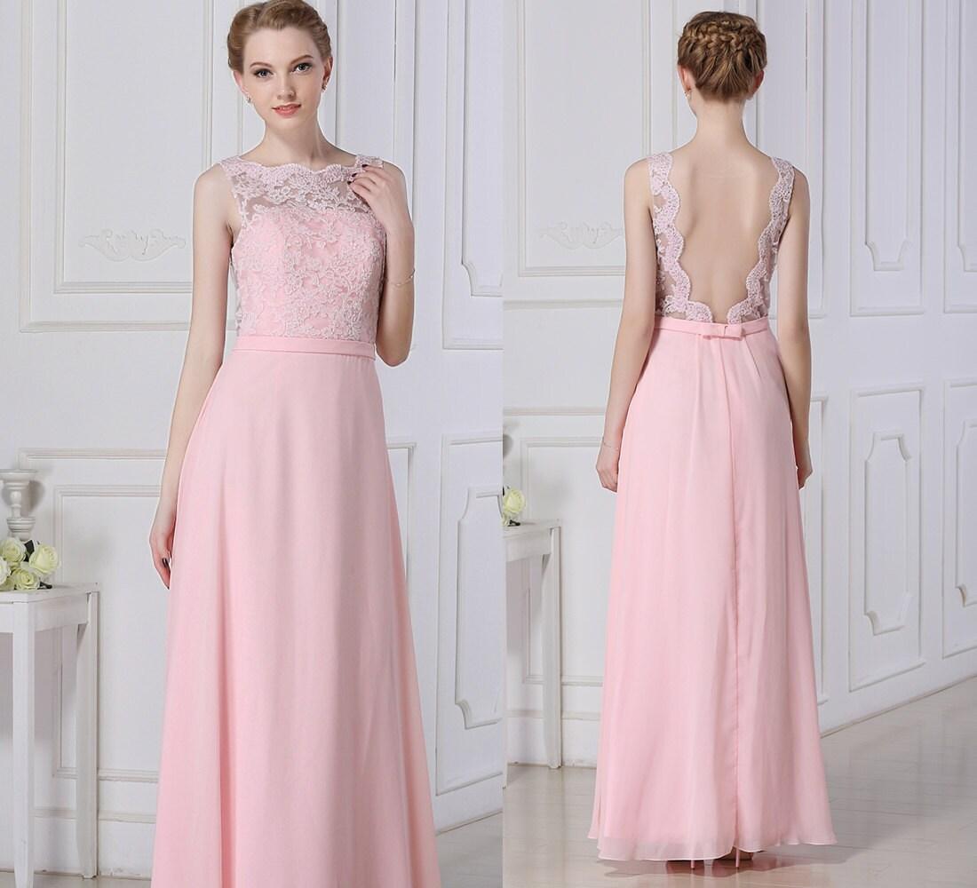 Pink Long Lace Bridesmaid Dress Chiffon Prom by