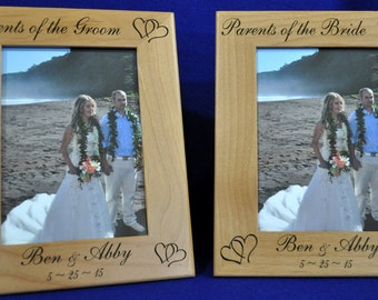 Wedding Gifts For Parents. Mother Of Bride Gift. Parents Of The Groom Gift.  Personalized Wedding Frame.  Engraved Wedding Frame.  SET OF 2