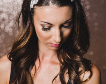 Rhinestone Headband | Silver Bridal Headband | Silver Crystal Bridesmaid Headband | Bridal Headpiece | The WHITNEY