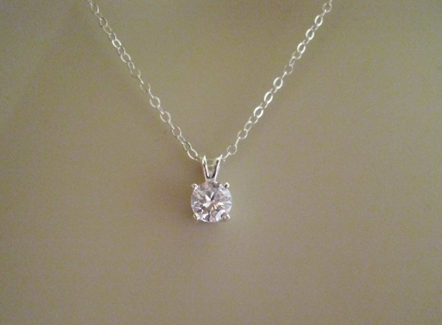 sterling silver cubic zirconia pendant necklace faceted cubic