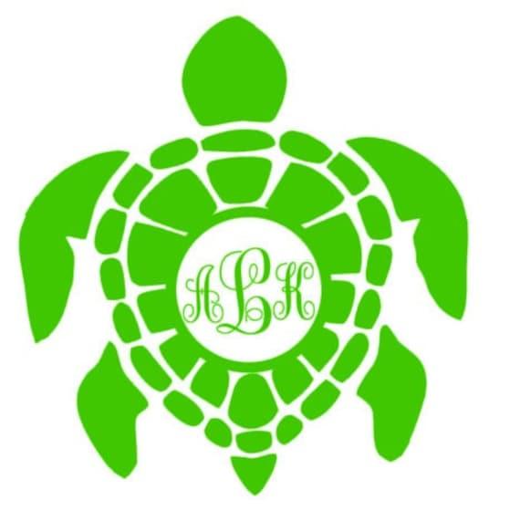Sea turtle monogram turtle monogram car window decal