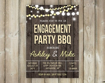 Rustic Engagement Party BBQ Invitation - String Lights - Wood Background - Digital File
