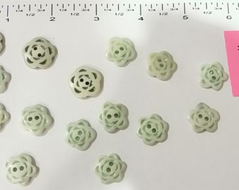Vintage Handmade Natural Bone Buttons -  Carved flower Design - Green - 15 pcs -  #BAS-045.