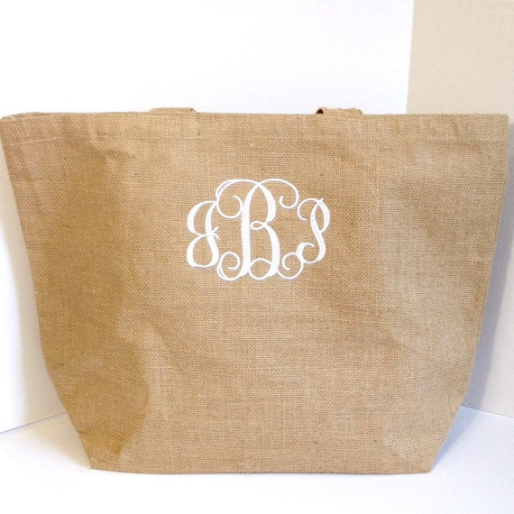 Set of Six Monogrammed Burlap Tote Bags, Personalized Jute Tote, Bridesmaid Gifts, Bridal Party Gifts, Monogrammed Gifts