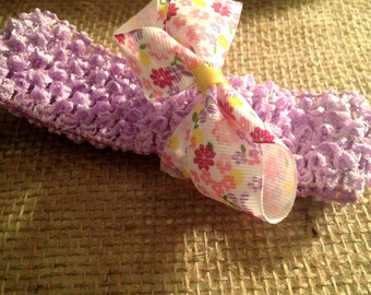 Purple Baby Headband With Interchangeable Bows