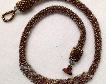 Antique Bronze Russian Spiral Necklace