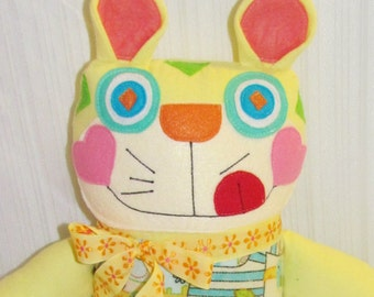 SILLY WHIMSICAL CAT handmade 18 inch stuffed cat doll, toddler toy, baby shower gift