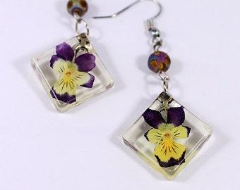 purple earrings gift/for/mom yellow earrings/for/her flower jewelry terrarium earrings unique gift earrings under geometrical earrings к8