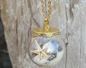 Miniature terrarium necklace, starfish necklace, seashell pendant, beach necklace, glass orb necklace, dreaming of the sea, summer pendant.