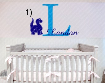 Personalized Dinosaur and Name Monogram Wall Vinyl Decal,Personalized Wall Decal,Dinosaur custom Wall decal,Kids Wall Decal