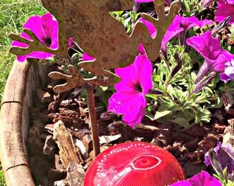 Hand Blown Red Glass Cut Off Remnant Paperweight Yard Garden Art