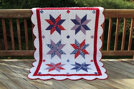 Patriotic American Star Quilt Pattern PDF Digital Download
