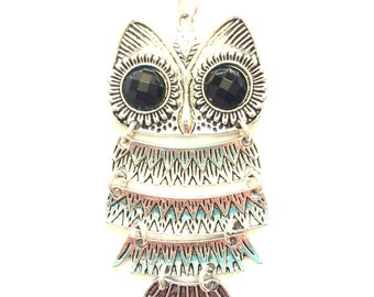 Owl Statement Charm Necklace - Owl Necklace - Silver Jewelry - Statement Owl