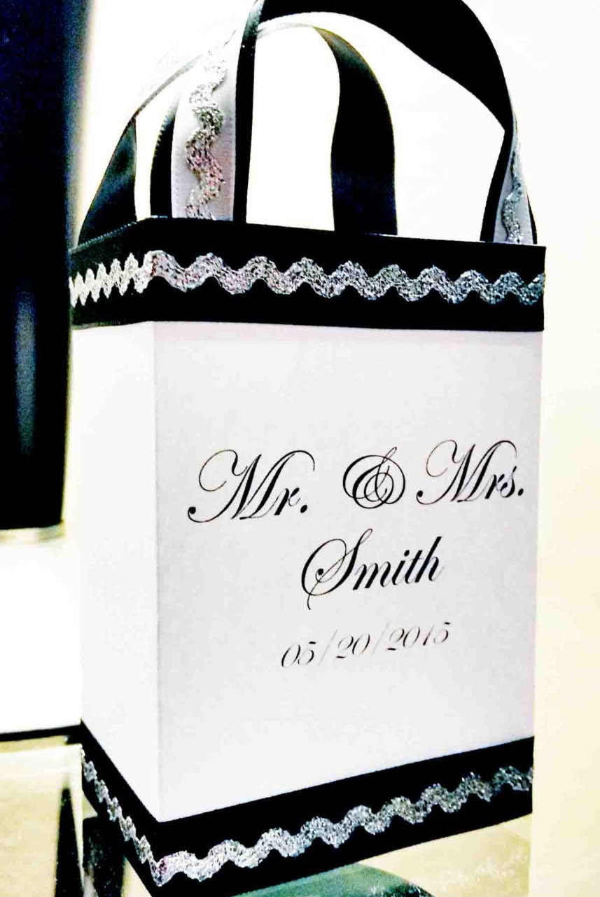 wedding favor bags black silver and white party by With silver wedding favor bags