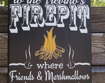 Personalized firepit sign,patio decor, last name firepit sign, custom firepit sign, Welcome to our firepit, wood firepit sign, fire pit sign