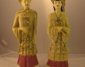 Vintage Kitsch Pair of Asian Mates 1950's California Pottery Co