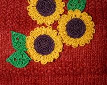 Set of 3 Crocheted Sunflower with leaves Flower Applique Embellishment  Yellow flower Sunflower applique