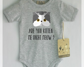 Are you kitten me right meow? Cat baby clothes. Cute and funny baby boy or girl cat print romper.Modern baby clothes.