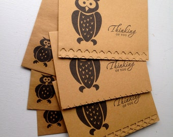 Owl notecards, Thinking of you Owl notecard set of 3, rustic notecards