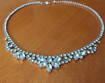 20% SALE Vintage 1950's Clear Rhinestone Crystal Necklace Choker / Jewelry / Mid Century Glamour 1950s Chic