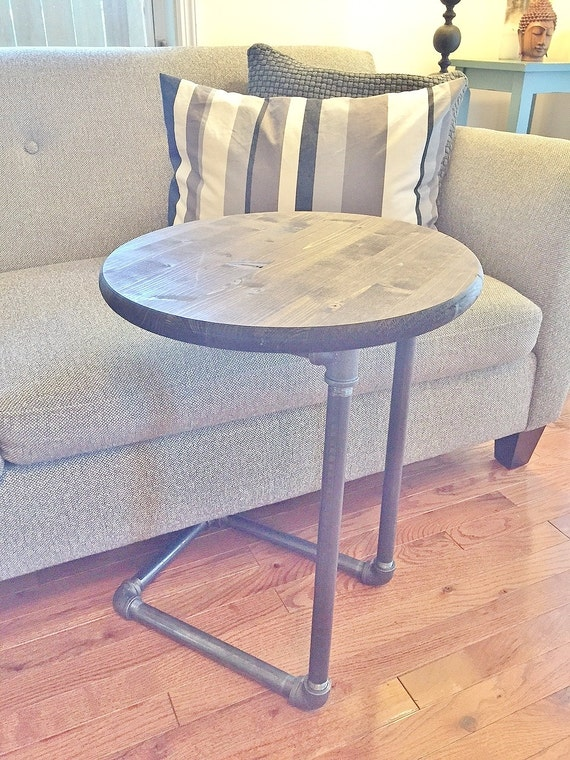 Wood And Metal Bedside Table: Small Table Round Table Side Table Night By BlackIronFurniture
