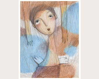 Oil Pastel Drawing-Dreams-Blue-Brown-White-Giclée Print