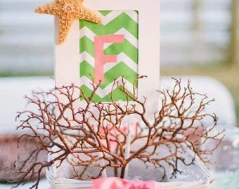 monogramed beach themed centerpiece