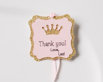 Gold and Pink Princess Favor Tag